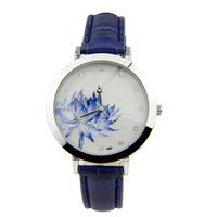 Free Shipping Women Retro Blue Leather Strap Lotus Dial Quartz Watch Ladies Fashion Casual Rhinestone Analog Dress Wristwatch