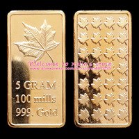 [A0033]Free Shipping 10Pcs 5 Gram 100 Mills Pure Gold Plated Maple Leaf Bullion Bar 24kt gold layered Brass Canada Gold Bars