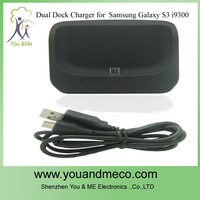 New Item Hot Selling Dual docking station  for Samsung Galaxy S3 i9300 With Cable Retail Box 30pcs/lot Free shipping by dhl