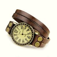 Free Shipping Enmex Women Fashion Brown Leather Strap Dress Watch Ladies Casual Retro Bronze Alloy Case Analog Quartz Wristwatch