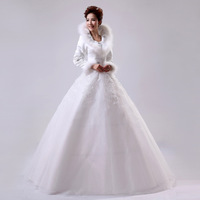 cotton full long sleeve winter thickening warm plus size maternity flower   wedding dress bride bridal gown dresses