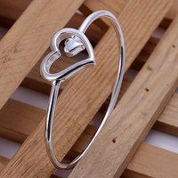B018 Hot Sell! Wholesale 925 silver bangle bracelet, 925 silver fashion jewelry, Big and small heart bangle