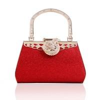 Free shipping 2014 new bridal bag gentlewomen bag evening bag diamond bag red color metal totes handhag European style flower
