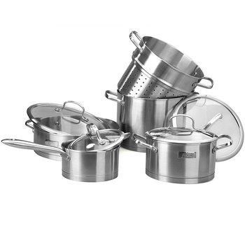 free shipping Cookware dsl-tz028 soup pot + fry wok +milk pot + pasta pot 304 stainless steel cookware set gift