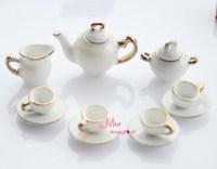 Toys For Girls Dollhouse Miniature White porcelain China Coffee Tea Lid Pot Cups Set 11 PCS free shipping Furniture