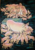 Big pig, pig baby. Huxian peasant paintings, animal painting, decorative painting, folk art.