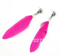 Wholesale Cheap Jewelry fashion accessories beautiful three-color Skull Pendant Feather Earrings Drop Earrings jewelry For Women
