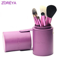 Zoreya Barrelled purple 7pc cosmetic comforter full brush set loose powder blush brush kabuki tools makeup kits Barrelled
