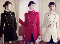 Free Shipping Korean version new fashion retro uniforms double breasted slim women's wool coat High-grade noble ladies parka