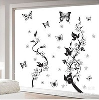 Free shipping parlour bedroom decoration Sofa TV background can remove wall sticker children's room  Flower  butterfies