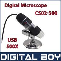 NEW 8 LED CS02-500 USB 500X Digital Microscope Endoscope Magnifier Camera+Metal fixed Stand Free Shipping #109n
