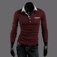 2013 NEW Hot-selling long-sleeve polo classic check embellishment british style MEN slim long-sleeve polo shirt  805