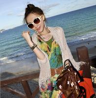 Summer cape outerwear cardigan reticularis cutout tassel beach clothes sun scarf cape cardigan