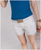 2013 casual pants sweet lace large crochet slim all-match shorts with belt