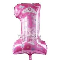 Free Shipping Girl 1 aluminum foil balloon party supplies child birthday digital balloon decoration birthday