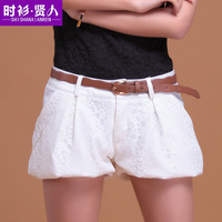 Shirt 2013 summer ladies double pocket lantern lace shorts women's slim shorts short packet