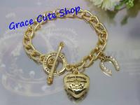 Free Shipping Logo Printed Heart Charm Bracelet Pendant Bracelet Brand Jewelry 2 Color Top Quality (Dust bag,Gift Box) #JCB172