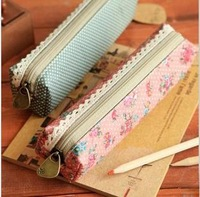 2013 New vintage dots flower lace series pencil bag/pencil pouch/pen bag/cotton bag/wholesale /Free shipping