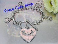 Free Shipping Lovely Heart Charm Bracelet Pendant Bracelet Brand Jewelry Top Quality Package (Dust bag,Gift Box) #JCB176-Pink