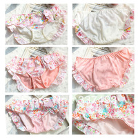 Vogue Of New Fund Of 2013 Pink Flower Printed Ice Silk Underwear Sexy Female Charm Falbala Lovely Briefs