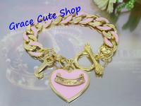 Free Shipping Logo Printed Heart Charm Bracelet Pendant Bracelet 2 Colors Top Quality Package (Dust bag,Gift Box) #JCB186-Pink