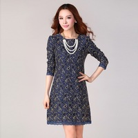 Free Shipping Women 2014 Autumn Winter Plus size  Vintage Elegant slim fashion Lace long-sleeve Dress L XL 2XL 3XL 4XL