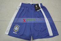 2014 Brazil soccer shorts Embroidery logo Free Shipping Best Thailand Quality Brazil Shorts Home Blue