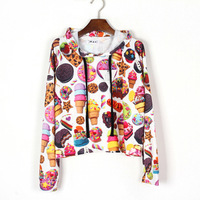 good quality 2013 fashion  women  MAX Harajuku style print  Cookies biscuits fruit short   pullover hoodie  sweater loose