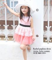 Free Shipping 5 Pcs Baby Girl Lace Sash Dress Fashion Good Quality Pink