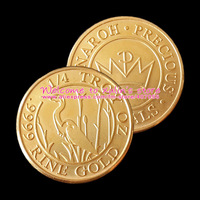 [C0054]Wholesale100Pcs Tenth Troy Ounce Monaroh Tiny Gold Rounds Red Copper 24K Gold Plated 1/10 Troy Oz Monaroh Precious Metals