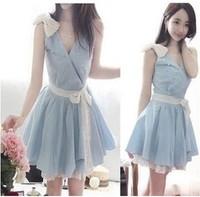 (BR-163)FREE SHIPPING new,hot 2013 summer gentlewomen slim elegant vintage lace patchwork denim even   dress WHOLESALE