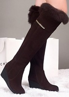 Free shipping over knee natrual real genuine leather wedge boots women snow winter warm shoes CooLcept R1399 EUR size 34-39