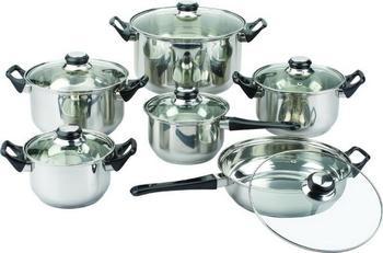 Stainless steel cookware 1 twinset soup pot milk pot fry pan bundle