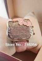 Free shipping watches flash full diamond drill KT cat head LED Watch