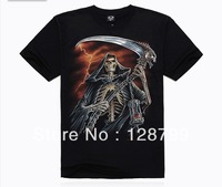Free shipping, High Quality Man's 100% Cotton short sleeve T-shirt 3D printing. Print Skull shirt NZ07019