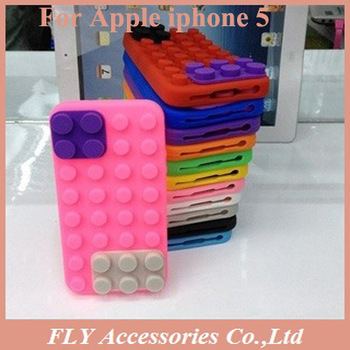 1pcs Free ship Building Block Shape Case Soft Silicone Cell Phone Cover For Apple iPhone5 5G Multi Color