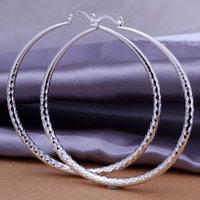 925 silver earrings 925 sterling silver fashion jewelry earrings beautiful earrings Round section prismatic Hoop - Large