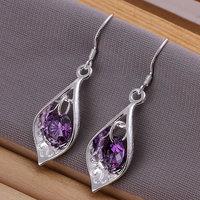 925 sterling silver fashion jewelry earrings beautiful earrings high quality Inlaid Purple Stone Shell Earrings