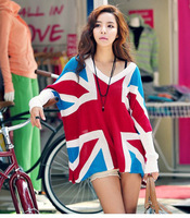 Free shipping Fashion flag torx pattern color block decoration square batwing sleeve sweater 3446