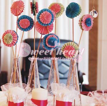 Sweetheart handmade paper flowers material kit mini folding fan material set desktop decoration small flower props