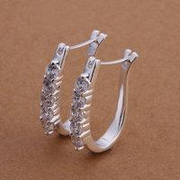 925 silver earrings 925 sterling silver fashion jewelry earrings beautiful earrings high quality U-shaped inlaid stone earrings