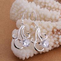 925 silver earrings 925 sterling silver fashion jewelry earrings beautiful earrings high quality Inlaid stone flower earrings