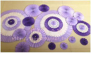 Fashion wedding props flower decoration flower large paper flowers purple lace folding fan flower 16 bundle