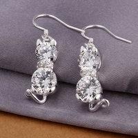 925 silver earrings 925 sterling silver fashion jewelry earrings beautiful earrings Kitten inlaid double stone earrings