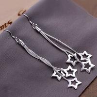 925 silver earrings 925 sterling silver fashion jewelry earrings beautiful earrings high quality Triple Hollow Star Earrings
