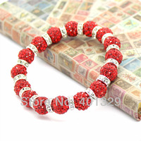 Free Shipping! New Arrival Woman's Bracelet Elastic Stretch Bracelet 16pcs Red Disco Beads+16pcs Silver Wheels