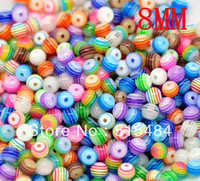 Wholesale 300PCs Mixed Striped Round Resin Spacer Beads  8mm Dia.Fashion Jewelry Making