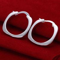 925 silver earrings 925 sterling silver fashion jewelry earrings beautiful earrings high quality Flat Square Round Earrings
