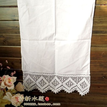 Handmade hook needle patchwork 100% cotton fabric table runner vintage crochet curtain white