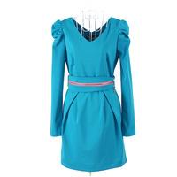 2013 autumn long-sleeve V-neck puff sleeve slim elegant one-piece dress 9001